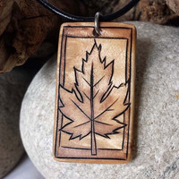 Rustic Jewelry, Autumn Leaf Necklace, Maple Leaf Pendant, Earthy Necklace