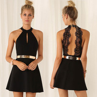 ≫∙∙Black Lace Sexy Sleeveless Evening Party Club Dress ∙≪