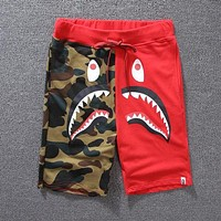 AAPE BAPE Summer Couple Casual Camouflage Joining Together Running Sport Shorts Red