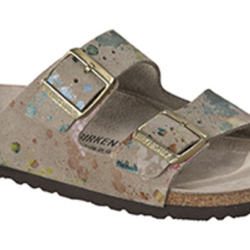 Arizona Soft Footbed Flower Crush Taupe Suede Sandals | Birkenstock USA Official Site