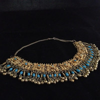 Tribal Middle Eastern Necklace with Blue Beads  - Shipping Included!