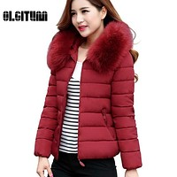 2017 Womens Winter Jackets And Coats  Faux Fur Collar Hooded Warm Parkas For Women Winter Coats Female Manteau Femme