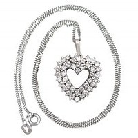 1.56ct Diamond and 14ct White Gold 'Heart' Pendant - Vintage Circa 1960