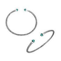 AB-1075-GQ Sterling Silver Bangle With Green Quartz
