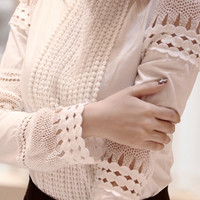 White Floral Lace Funnel Collar Chiffon Long Sleeve Blouse