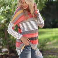 Coral and Yellow Top with Crochet Sleeves