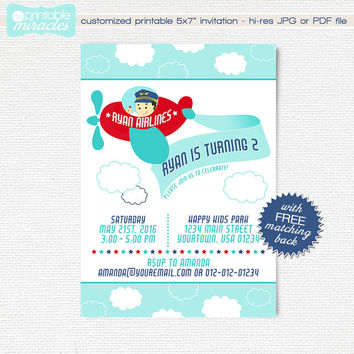 Airplane birthday invitation, Printable plane invite, Boy birthday invites, Airplane party, Custom invitation, 1st birthday, 2nd birthday