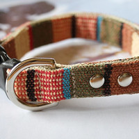 Brown Beige Striped Mexican Woven Dog Collar 1 by Miasclosetshop