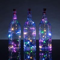 3 Pack | 3 Ft 10 Super Bright RGB LED Solar Operated Wine Bottle lights With Cork DIY Fairy String Light For Home Wedding Party Decoration