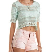 Light Blue Crochet Swing Crop Top by Charlotte Russe