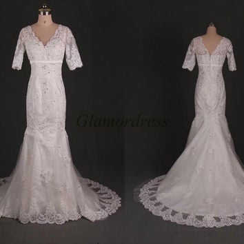 new design applique lace wedding dress with train ivory princess short sleeve wedding gowns mermaid v-neck bridal dresses affordable