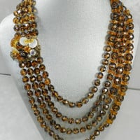 50% OFF 50s Multi Strand Glass Beaded Torsade Tiger Eye or Tortoise Color Necklace Vintage Jewelry Jewellery