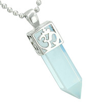 Ancient OM Amulet Magic Powers Crystal Point Lucky Charm Simulated Opalite Pendant 22 Inch Necklace