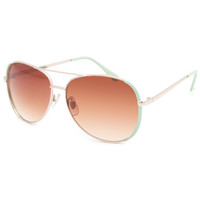 Full Tilt Air Mail Sunglasses Mint One Size For Women 23331852301