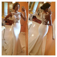 Vestidos De Formatura 2016 Mermaid High Collar Lace Prom Dresses Court Train White Formal Evening Party Gowns Sheer Neck Hottest