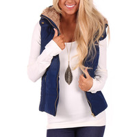 Navy Puffer Vest with Faux Fur Collar