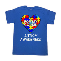 Autism Awareness T Shirt Cousin Shirt Autistic Support Gifts For Family TShirts Puzzle Piece Aspergers Autism Month Mens Ladies Tee - SA1040