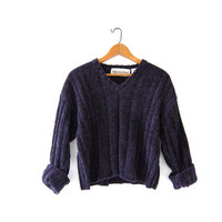 Vintage cropped sweater. 90s sweater. Purple vneck sweater.