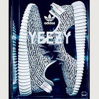 """Fahion """"Adidas"""" Women Yeezy Boost Sneakers Running Sports Shoes Grey black dots"""