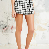 Sparkle & Fade Check Running Shorts in White - Urban Outfitters