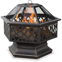Uniflame Bronze Outdoor Wood Burning Fire Pit with Lattice