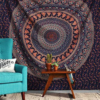 RawyalCrafts-Indian Elephant Peacock Mandala Tapestry ,Indian Hippie Tapestry, Wall Hanging,Bohemian Wall Hanging,New Age Tapestry,Mandala Typestry,Gypsy Tapestry