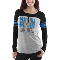 Carolina Panthers New Era Women's Tri-Blend Henley Long Sleeve T-Shirt - Gray/Black