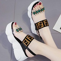 FENDI Summer Popular Women Casual Diamond Thick Sole Sandal Slipper Beach Shoes Black/Golden