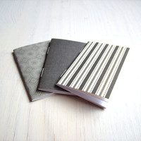 Small Notebooks: 3 Tiny Journals Set, Black and White Journals, Jotters, Mini Journals, Small Notebooks, Geometric - Set of 3