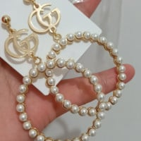 GUCCI New Fashion Letter Round Pearl Earrings Rhinestone Earrings