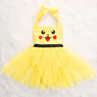 Toddler Baby Girls Halloween Pikachu Bodysuit Playsuit Dress Costume Clothes Outfit