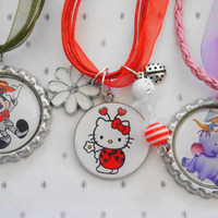 necklaces for girls - Three Amazing Necklaces ,Mickey Mouse, Hello Kitty, Cute Purple Elephant, Gift for Girls, Kids, Children, Friends