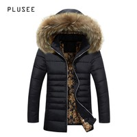 Plusee winter jacket men fur parka long men winter jacket cotton 2017 black casual zipper warm winter jacket men overcoats M-3XL