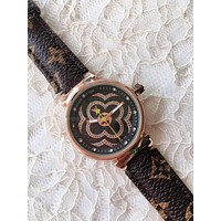 LV Simple Embossed Alphabet Quartz with Diamond Dial