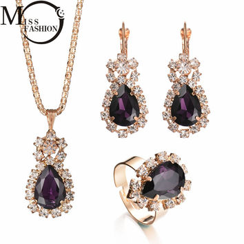 Fashion Wedding Gift Jewelry Gold-color Water Drop Shape Crystal Earrings Necklace Adjustable Rings Set Women Jewelry Sets