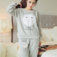 Women's coral fleece nighty sleepwear cute owl pattern autumn & winter ladies long-sleeve pajamas nightwear nightgown set