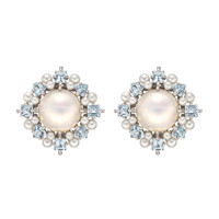 Paul Morelli Pearl & Aquamarine Cluster Earrings