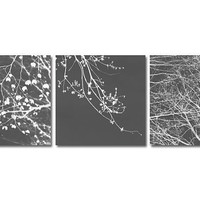 SALE 40% OFF Three 8x8 Tree Photos. Negative Black White triptych branches nature, wall decor, grey wall art branches dark background