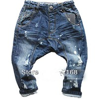 Hot brand children clothing jeans paint hole children harem pants 100% cotton baby boys girls big pp pants Free shipping