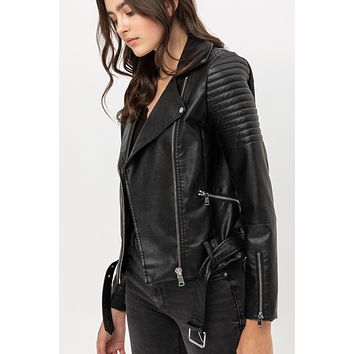 Faux Leather Fully Lined Quilted Long Sleeve Moto Biker Jacket