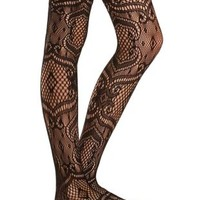 Patterned Fishnet Tights by Charlotte Russe - Black