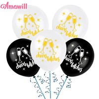 Amawill 10pcs Hen Night Decor Black/White Latex Balloons Printed Gold Cheers Bitches Globos for Bachelorette Party Supplies 6D