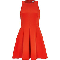 River Island Womens Red textured crepe skater dress