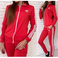Adidas:Fashion Letter Long Sleeve Shirt Sweater Pants Sweatpants Set Two-Piece Sportswear