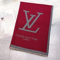Louis Vuitton LV Newest Stylish Woman Cashmere Warmer Sunscreen Cape Scarf Scarves Shawl Accessories Red