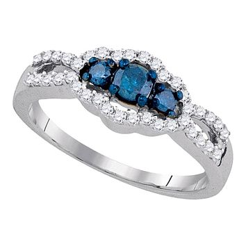 10k White Gold Blue Diamond 3-stone Bridal Engagement Ring 1/2 Cttw