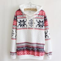 Ethnic Snowflake Printed Sweater with Hood