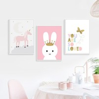 Kids Room Pink Rabbit Posters And Prints Nordic Style Kids Decoration Wall Art Canvas Painting Canvas Art Picture Decor Unframed