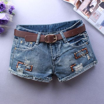 Summer Pants Denim Shorts Plus Size Ripped Holes Rinsed Denim Jeans [6050444801]