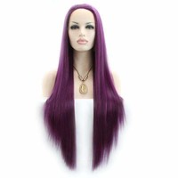 Long Silky Straight Wigs Purple Synthetic Lace Front Wig